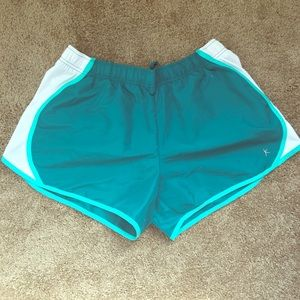 Teal running shorts